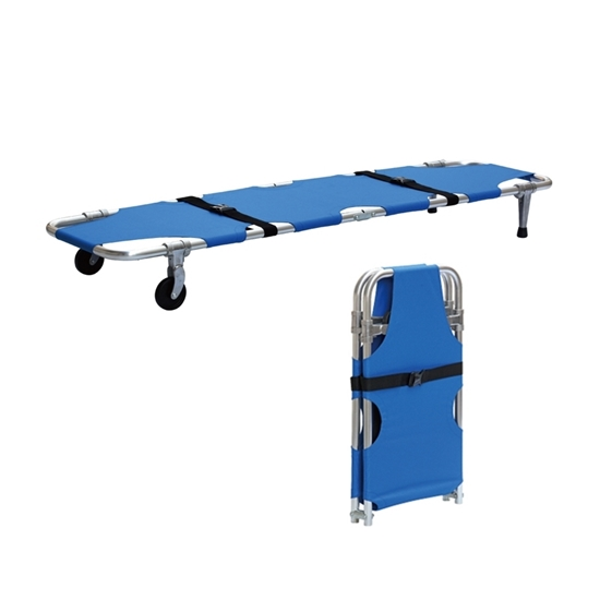 Stretcher Single Fold, Plain stretcher with wheels and posts