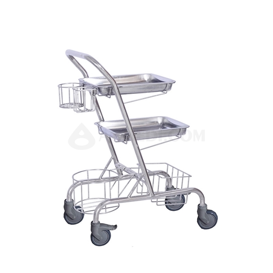 Picture of Medical Double Trays Trolley with Basket   AO-SSA001C