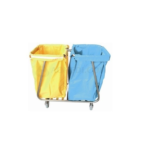 Picture of Hospital Stainless Steel Dual Bag Trolley with Wheels AO-SSA008